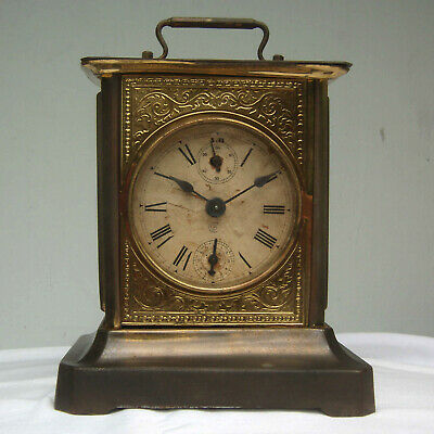 Vintage CB Brass & Nickel Wind Up Carriage Style Musical Alarm Clock Works!