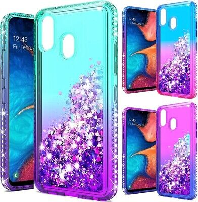 For Samsung Galaxy A20 / SM-A205 Diamond Glitter Waterfall Sparkle Bling Cover