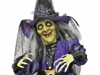 Standing Animated Witch Hat Halloween Prop Decoration Talking Purple Haunted New