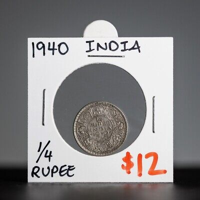 1940 Indian 1/4 Rupee Coin