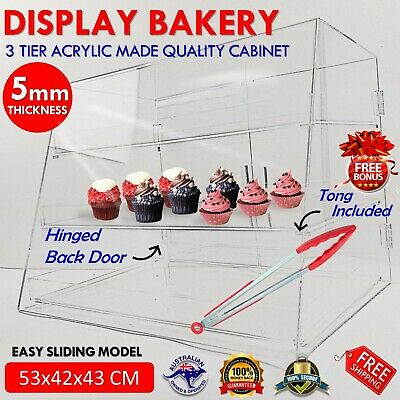 Large Acrylic Cake Display Cabinet Bakery Muffin Cupcake Donut Pastries 5mm NEW