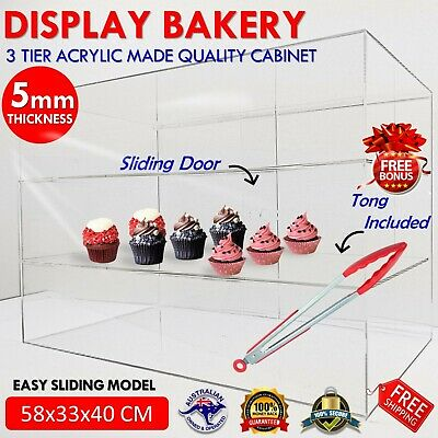 Large Acrylic Cake Display Cabinet Bakery Muffin Cupcake Donut Pastries