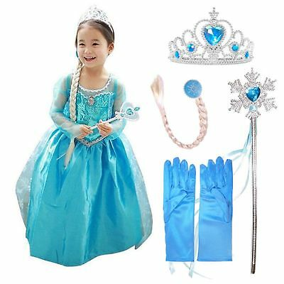 Snow Queen Elsa Anna Princess Dress Fancy Costume Girls Kid Party Cosplay Outfit