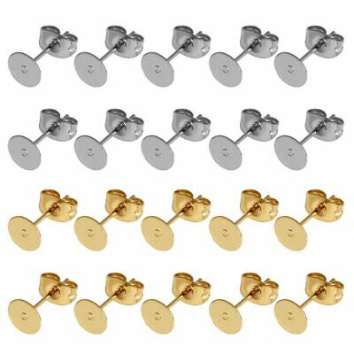 50Pairs Earring Stud Posts 4/6/8mm Pads & Nut Backs Surgical Steel DIY