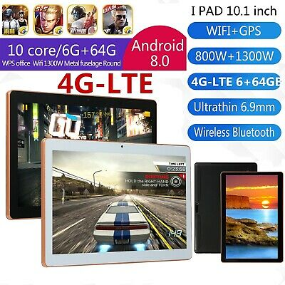 """10.1"""" 4G-LTE Tablet PC Android 8.0 6+64GB 10 Core WIFI Dual SIM Camera Bluetooth"""