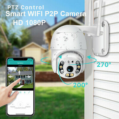 Wireless PTZ 4X Security Camera ZOOM 2-Way CCTV 1080P WIFI IP IR Dome Outdoor