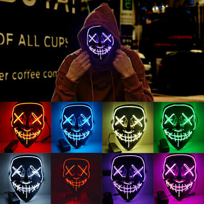 Halloween LED Glow Mask 3 Modes EL Wire Light Up The Purge Movie Costume Party F