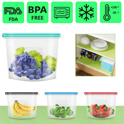 4X Reusable Food Storage Silicone Bags Leak-Proof Ziplock Produce Bags With jw