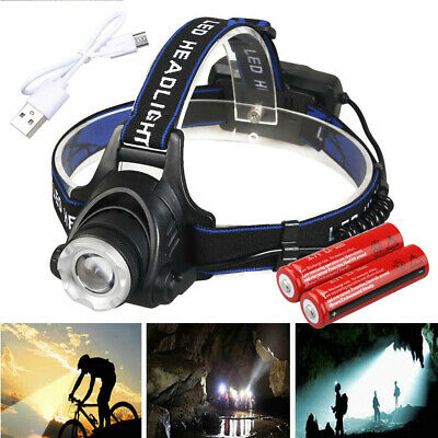 200000LM T6 LED USB Rechargeable Headlight Head Lamp + 2Pcs 18650 + Charger Camp