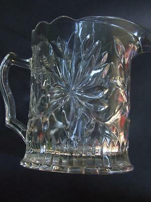 Antique Australian Pressed Glass Jug Floral Waratah  Design Art Deco Vnt.1920'S