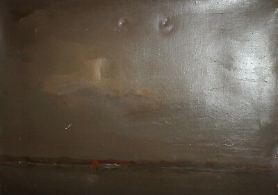 Vintage European large abstract oil painting landscape