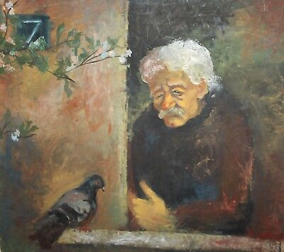 Vintage European large impressionist oil painting man with bird signed