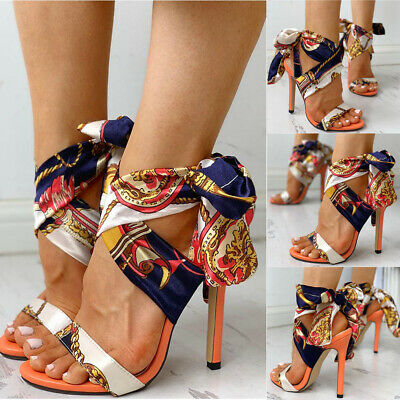 Womens Lace Up Stiletto High Heels Sandals Ladies Ankle Strappy Party Shoes Size