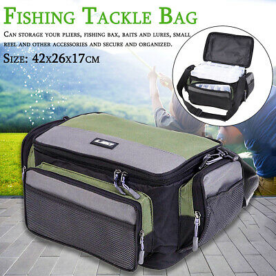 Fishing Tackle Bag Pack Waist Shoulder Waterproof Box Reel Lure Gear Storage