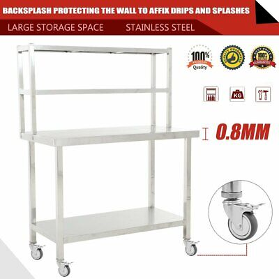 """Commercial Stainless Steel Kitchen Prep Table with Double Overshelf- 36""""x 90"""" 3u"""
