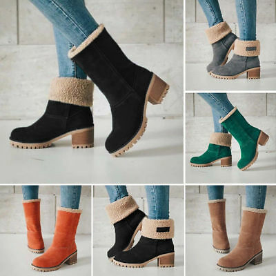 Women Winter Snow Warm Boots Fur Comfy Casual Mid Calf Chunky Booties Shoes Warm