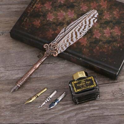 Antique Quill Feather Dip Pen Ink Writing Set Stationery Gift Box Fountain Pen
