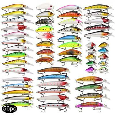 56pcs/lot Crankbait Fishing Lure Minnow Wobbler Artificial Bait For Bass Tackle