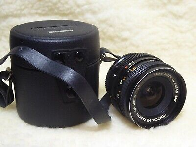 Vintage 'Konica' Hexanon AR 28mm/F3.5 Lens Cased with cap and filter. optics ok