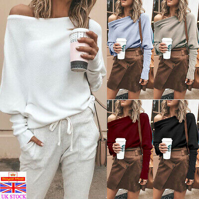 Womens Off Shoulder Oversized Sweater Ladies Casual Pullover Jumper Tops T Shirt