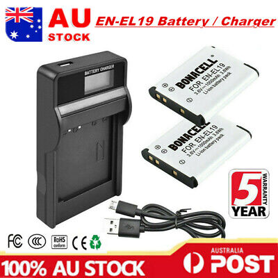 2X EN-EL19 Battery / LCD Charger For Nikon Coolpix S32 S2750 S2900 S3100 S3600