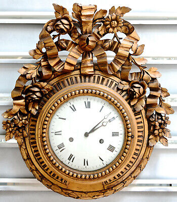 HUGE Antique black forest  Wood carved Wall clock Floral decor rare