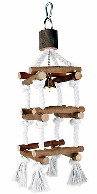 Trixie Natural Wooden Tower with Bell Budgie Canarie Bird Perch Swing on Rope