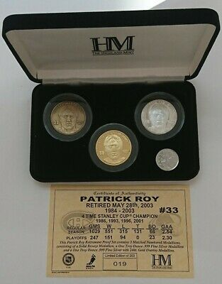 medallion Patrick Roy #33 Limited Edition Of 200 Coin Hockey Bronze Silver Gold