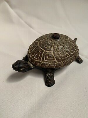 Antike Tisch Empfang Klingel Turtle wind/screw up/  Desk Bell Antique  RARE