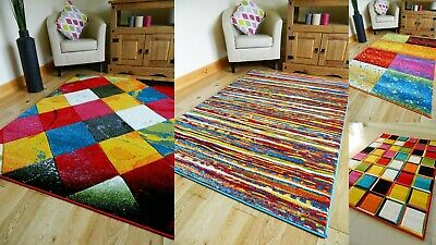 Clearance Rugs Funky Bright Modern Thick Soft Heavy Area Rug Runner Mat Sale Uk