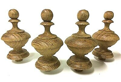 Lot of 4Pcs Teak Wooden finials Turned to Antique Clock Furniture Decor