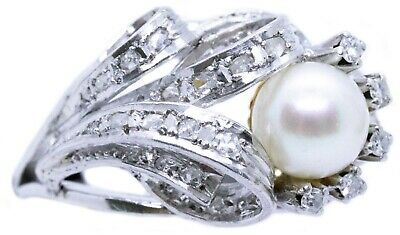 Platinum Art Deco 1940 French Pearl & Fine Diamonds Ring Very Nice Design
