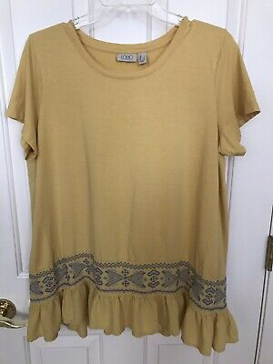 Logo Lori Goldstein L Large Short Sleeve Top Yellow W/ Blue Embroidered Bottom