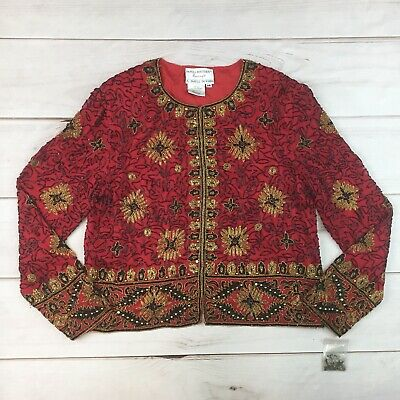 NWT Vintage Adrianna Papell Boutique Evening 14 Silk Red Gold Beaded Jacket
