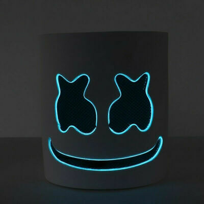 DJ-Marshmello BLUE LED Full Mask Latex Marshmallow Helmet for Halloween Costume