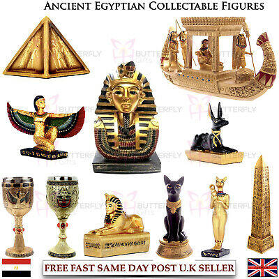 Ancient Egyptian Collectable Decorative Figures Ornaments Golden Bast Pyramids