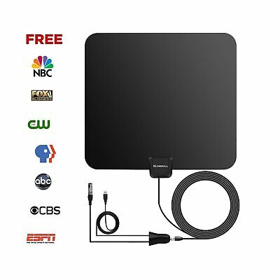 SALE Globmall UltraThin TV Antenna Aerial 50 Miles Detachable Indoor Singal HDTV