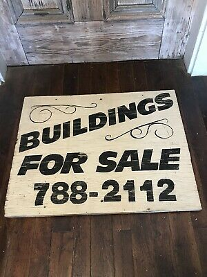 Vintage Sign NH Estate For Sale Buildings Wooden Painted