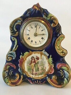 Vintage Ceramic Mantle Wind Up Clock Blue Hand painted Made In Germany