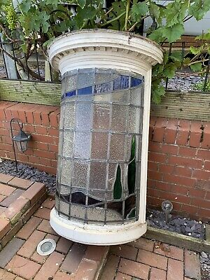 Antique Stained Leaded Glass Bay Window