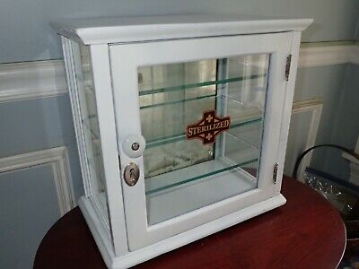 Restored Antique Medicine Cabinet Glass Display Case Small Counter Top 3 Shelves