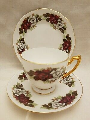 Vintage ROYAL IMPERIAL bone china red and gold gilt teacup saucer plate trio vgc