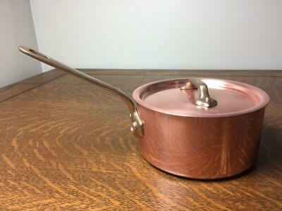 Vintage CRATE AND BARREL 1 Qt Copper Sauce Pan w/ Lid Brass Handle Lined France