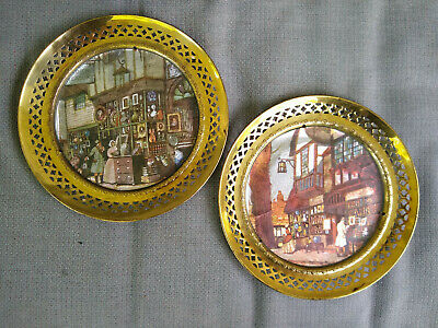 """Solid Brass Wall Hanging Plates Foil Art Pictures 8.5"""" Made in England Lot of 2"""