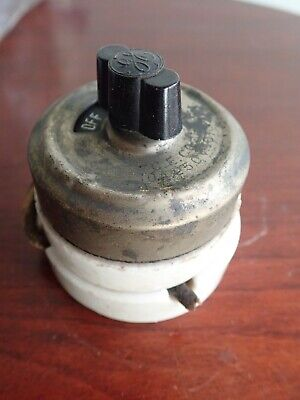 Antique GE Rotary General Electric Light Switch Porcelain Brass & Bakelite