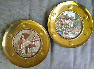 "Solid Brass Wall Hanging Plates Foil Art Pictures 10"" Made in England Lot of 2"