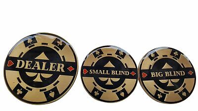 Double Sided Heavy Dealer Button, Small Blind, & Big Blind Poker Buttons NEW USA