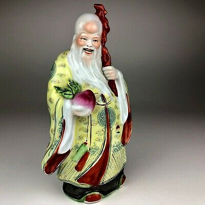 VINTAGE Chinese Famille Rose Porcelain Statue Shou God Of Longevity Peach Staff