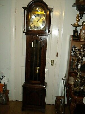Tempus Fugit Grandfather Oak Case Clock Westminster Chime Franz Hermle Movement