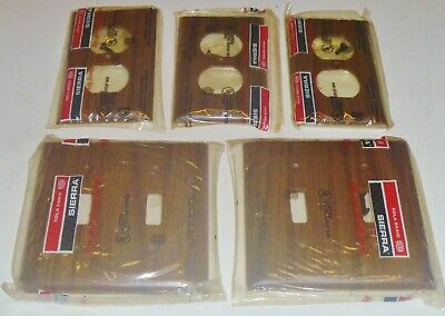5 New Vintage Sierra Wood Grain Bakelite Toggle Outlet Switch Wall Plate Cover